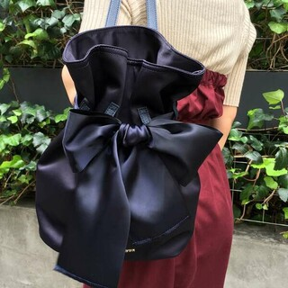 Maison de FLEUR - 【未使用】メゾンドフルール  巾着 リボン リュック ネイビー