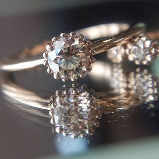 カシケイ ミル リング K18 ダイヤ ダイヤモンド ブラウン シャンパン(リング(指輪))