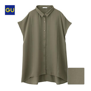 GU - 新品★GU エアリーシャツ カーキ S