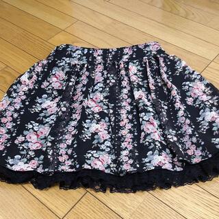 レストローズ(L'EST ROSE)の花柄スカート 裾レース(ひざ丈スカート)