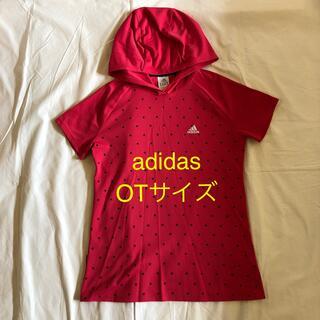 アディダス(adidas)のadidas フード付き半袖 トップス ピンク OTサイズ フィットネスウエア(ヨガ)