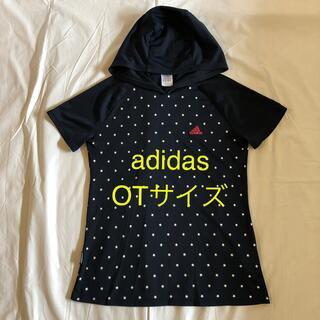 アディダス(adidas)のadidas フード付き半袖 トップス ネイビー OTサイズ フィットネスウエア(ヨガ)