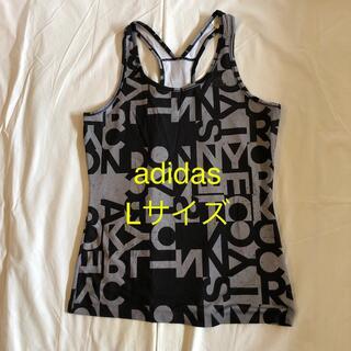 アディダス(adidas)のadidas ランニング トップス グレー柄 Lサイズ フィットネスウエア(ヨガ)