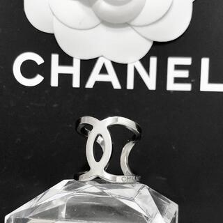 CHANEL - 正規品 シャネル 指輪 シルバー ココマーク オープン くりぬき ロゴ リング