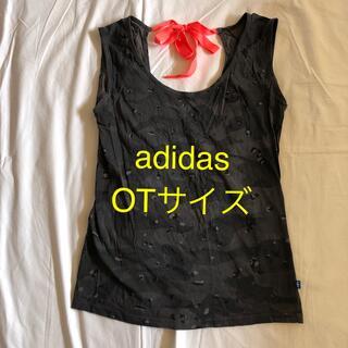 アディダス(adidas)のadidas ノースリーブ トップス グレー柄 OTサイズ フィットネスウエア(ヨガ)