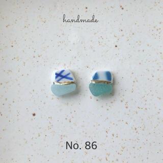 No.86 シー陶器×シーグラス 金継ぎ風ピアス/イヤリング(ピアス)