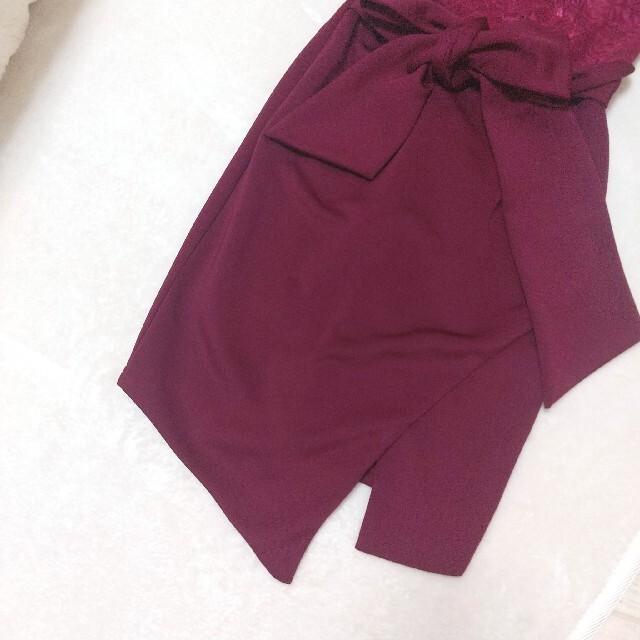 dazzy store(デイジーストア)のデイジーストア  ワインレッド ドレス 袖付き リボン付き ミニドレス 赤 レディースのフォーマル/ドレス(ミニドレス)の商品写真