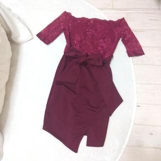 dazzy store - デイジーストア  ワインレッド ドレス 袖付き リボン付き ミニドレス 赤