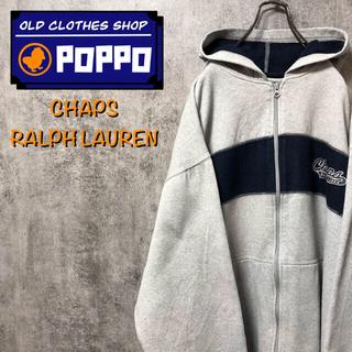 Ralph Lauren - チャップスラルフローレン☆刺繍ロゴ入りラインスウェットジップパーカー 90s