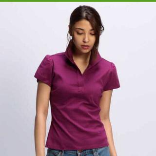 ナラカミーチェ(NARACAMICIE)のコットンスムーススタンドカラーチューリップ袖カットソーシャツ(カットソー(半袖/袖なし))
