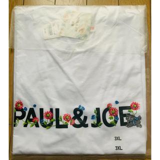 ポールアンドジョー(PAUL & JOE)の3XLサイズ ユニクロ ポール&ジョー UTグラフィックTシャツ ロゴ ホワイト(Tシャツ(半袖/袖なし))
