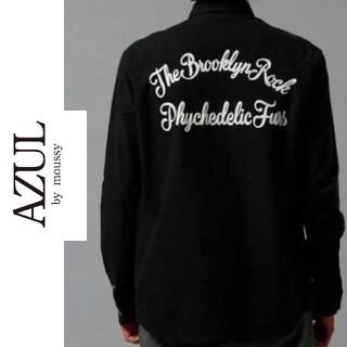 アズールバイマウジー(AZUL by moussy)の【未使用:Mサイズ】AZUL アズール ブラックシャツ シンプル カッコイイ(シャツ)