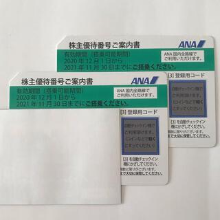 エーエヌエー(ゼンニッポンクウユ)(ANA(全日本空輸))のANA 株主優待券2枚 2021年11月30日まで(航空券)