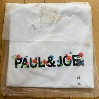 ポールアンドジョー(PAUL & JOE)のXSサイズ ユニクロ ポール&ジョー UTグラフィックTシャツ ロゴ ホワイト(Tシャツ(半袖/袖なし))