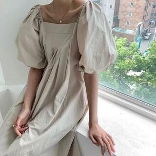 ZARA - スクエアネック ボリューム袖 ワンピース【2color】