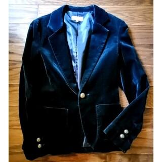 プーラフリーム(pour la frime)のプーラフリーム 黒 ブラック ジャケット ベルベット調 サイズ1(テーラードジャケット)