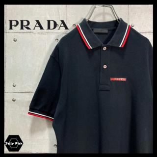 プラダ(PRADA)の【美品】PRADA/プラダ 半袖 ポロシャツ ワンポイント ラバーロゴ 黒 S(ポロシャツ)