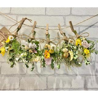 ドライフラワー スワッグ ガーランド❁238 黄色 ナチュラル 薔薇 花束♪(ドライフラワー)
