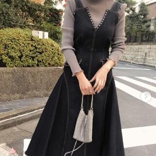 アメリヴィンテージ(Ameri VINTAGE)のSTUDS DENIM DRESS アメリヴィンテージ デニムジャンパースカート(ロングワンピース/マキシワンピース)
