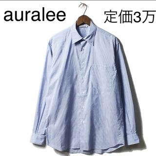 コモリ(COMOLI)のオーラリー AURALEE ストライプ シャツ フィンクス コットンシルク(シャツ)