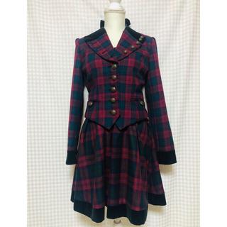 ヴィクトリアンメイデン(Victorian maiden)のエクサントリーク ロイヤルチェックジャケット コルセットジャンパースカートセット(ひざ丈ワンピース)