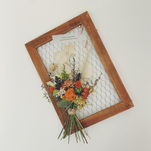 オレンジプチブーケ&メッシュフレーム2 ハンドメイドのフラワー/ガーデン(ドライフラワー)の商品写真