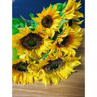 アーティフィシャルフラワー ひまわり 向日葵 造花 3セット(花瓶)