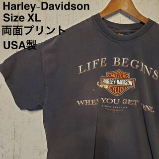 Harley Davidson - Harley-Davidson  ブラックTシャツ両面プリント USA 製 XL