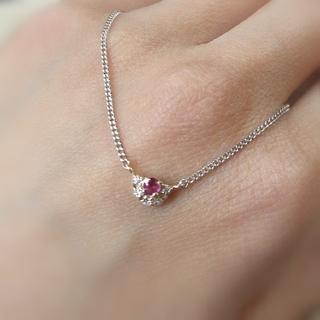 4℃ - 4℃ シルバー k10 ネックレス ルビー ダイヤモンド