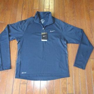 ナイキ(NIKE)の新品・未使用:NIKE ジッパー付き紺色シャツ (タグ付き)(シャツ)