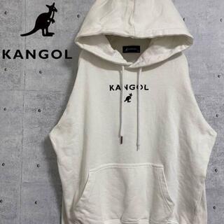 カンゴール(KANGOL)のKANGOL カンゴール 刺繍ロゴ プルオーバー パーカー デカロゴ 白 M(パーカー)