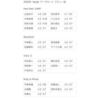シュウエイシャ(集英社)の2020年  Myojo  データカード  デビュー組(アイドルグッズ)