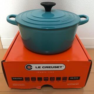ルクルーゼ(LE CREUSET)のル・クルーゼ 蓋付き鍋18 ブルー 美品(鍋/フライパン)