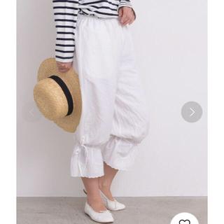 ドットアンドストライプスチャイルドウーマン(Dot&Stripes CHILDWOMAN)のDot&Stripes 裾リボンパンツ ホワイト(カジュアルパンツ)
