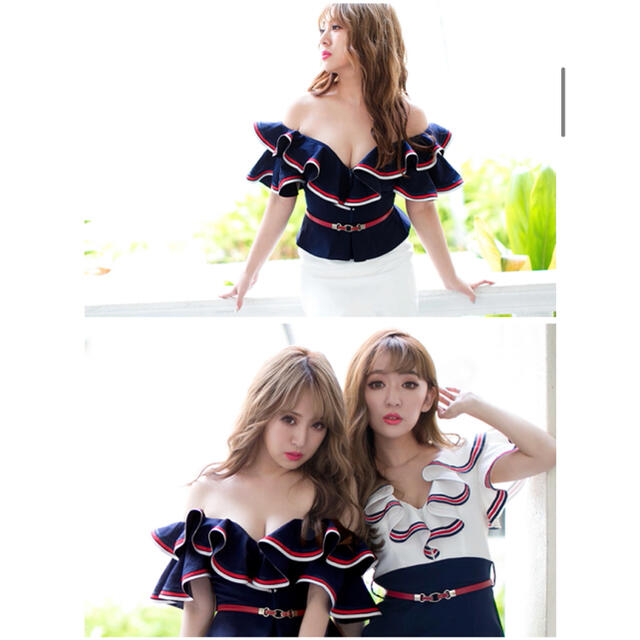 JEWELS(ジュエルズ)のJEWELS ドレス XL ネイビー×ホワイト 定価6980円 レディースのフォーマル/ドレス(ミニドレス)の商品写真