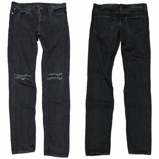 5 マインデニム ストレッチ スキニー 加工 デニム パンツ 黒 ブラック (デニム/ジーンズ)