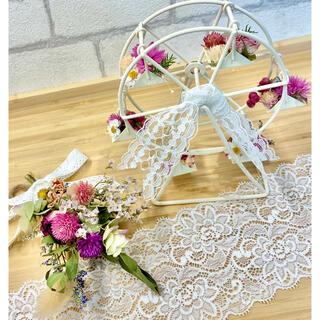 ドライフラワーインテリア2点セット❁¨̮母の日ギフト♪スワッグ ピンク 花束♪(ドライフラワー)