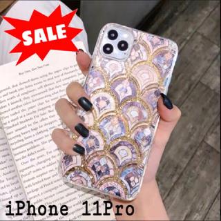 大理石 タイル風 モロッカン グリッター ケース【iPhone 11Pro】(iPhoneケース)