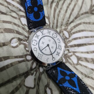 LOUIS VUITTON - 新品同様ルイヴィトン未使用ウォッチ時計タンブールスリムMM限定レア廃盤青黒モノグ
