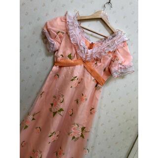 グリモワール(Grimoire)のオレンジ フリルネック 花柄 ロングドレス(ロングワンピース/マキシワンピース)