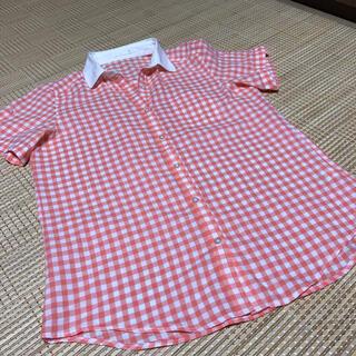 ジーユー(GU)のGU ギンガムチェックブラウス チェックシャツ  半袖シャツ(シャツ/ブラウス(半袖/袖なし))