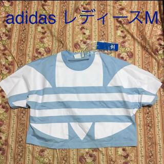 アディダス(adidas)のadidas アディダス ショート丈 Tシャツ レディースM ライトブルー 水色(Tシャツ(半袖/袖なし))