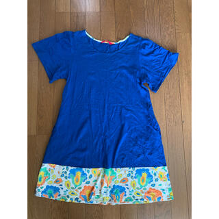 グラニフ(Design Tshirts Store graniph)の定価4378 グラニフ 花柄切り替えしワンピース(ひざ丈ワンピース)