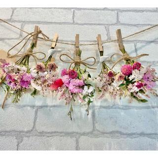 ドライフラワー スワッグ ガーランド❁240母の日ギフト♪ピンク薔薇 白 花束(ドライフラワー)