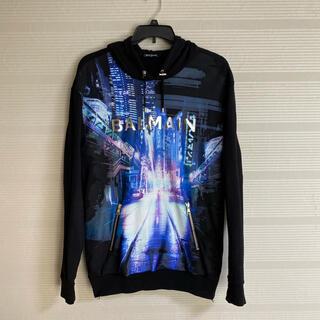 バルマン(BALMAIN)の美品 本物 正規品 BALMAIN バルマン メンズ パーカースウェット 黒青(パーカー)