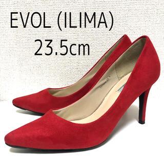 イーボル(EVOL)のEVOL ILIMA スエード ポインテッドプレーンパンプス 23.5cm 赤(ハイヒール/パンプス)
