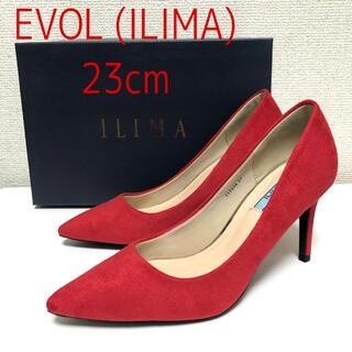 イーボル(EVOL)の新品 EVOL ILIMA スエード ポインテッドプレーンパンプス 23cm 赤(ハイヒール/パンプス)