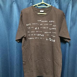 ピーピーエフエム(PPFM)のPPFM半袖デザインTシャツ L ブラウントップス 丸首マルイ プリントTシャツ(Tシャツ/カットソー(半袖/袖なし))
