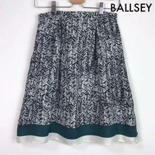 ボールジィ(Ballsey)のボールジィ BALLSEY シルク100% 総柄 膝丈 タックスカート 38(ひざ丈スカート)