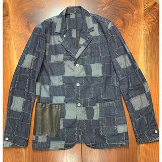 イサムカタヤマバックラッシュ(ISAMUKATAYAMA BACKLASH)の傑作 BACKLASH パッチワーク風デニムジャケット 馬革ポケット L(Gジャン/デニムジャケット)